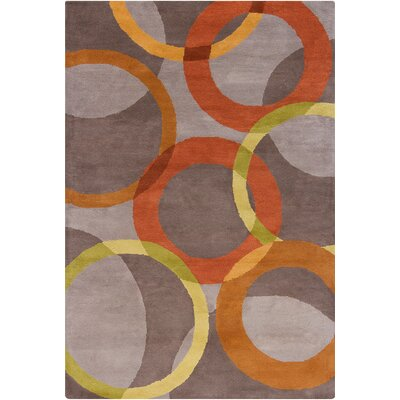 Oritz Hand Tufted Wool Warm Gray/Orange Area Rug Rug Size: 5 x 76