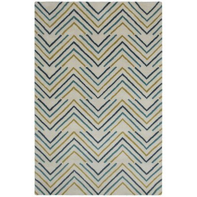Oritz Hand Tufted Wool White Area Rug Rug Size: 5 x 76
