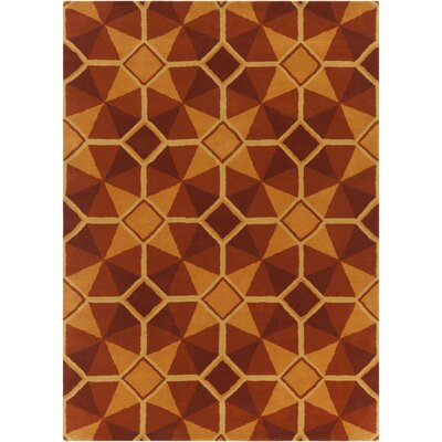 Oritz Hand Tufted Wool Orange/Red Area Rug Rug Size: 5' x 7'6