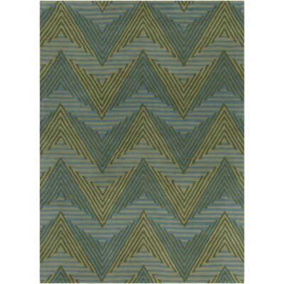 Oritz Hand Tufted Wool Blue/Green Area Rug Rug Size: 5 x 76