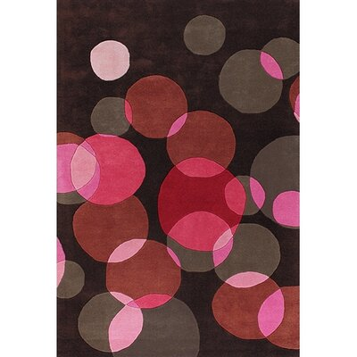 Osteen Black/Pink Area Rug Rug Size: Rectangle 79 x 106