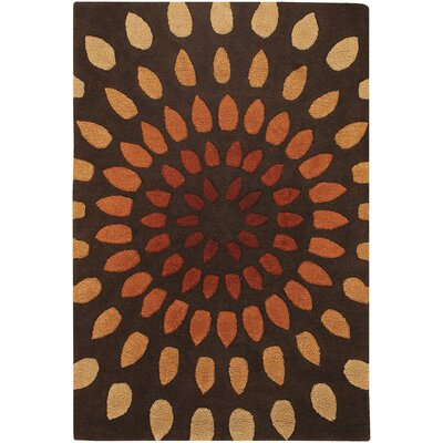Pifer Leaves Brown Area Rug Rug Size: 79 x 106