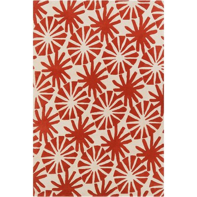 Phair Ivory/Red Floral Area Rug Rug Size: 5 x 76