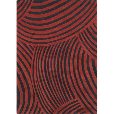 Phair Abstract Red/Charcoal Area Rug Rug Size: 5 x 7