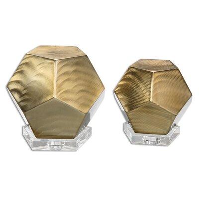 2 Piece Pentagon Cube Sculpture Set