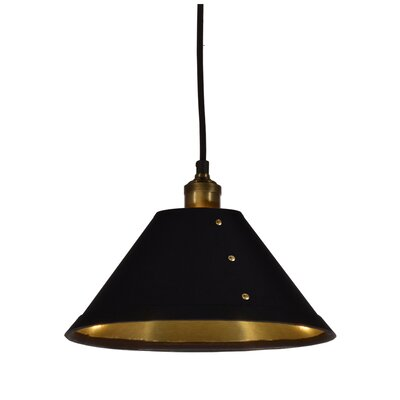 Trafton 1-Light Mini Pendant Shade Color: Black/Gold