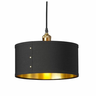 Trafton 1-Light Drum Pendant Shade Color: Black/Gold