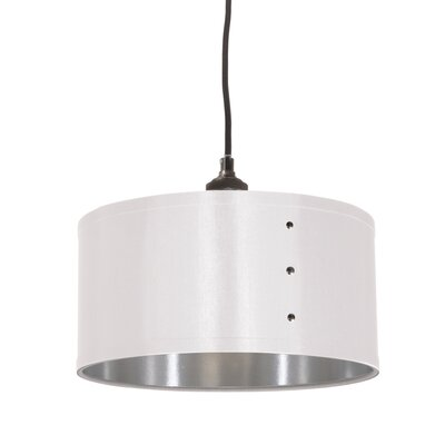 Trafton 1-Light Drum Pendant Shade Color: White/Silver