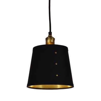 Trafton 1-Light Pendant Shade Color: Black/Gold