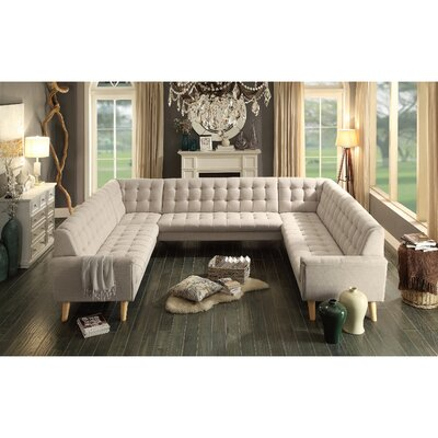 Trahan Reversible Sectional Upholstery: Beige