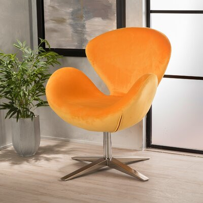 Khronos Swivel Armchair Upholstery Color: Orange