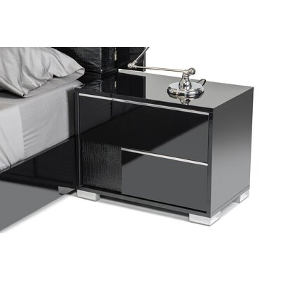 Camron Modern 2 Drawer Nightstand Finish: Black, Orientation: Left Facing