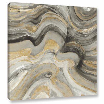 'Flowing Lava Neutral' Painting Print on Wrapped Canvas Size: 10