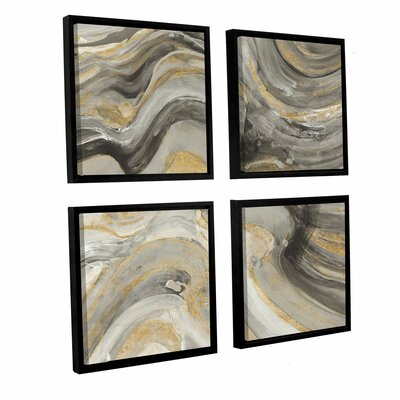 'Flowing Lava Neutral 4 Piece' Framed Painting Print Size: 36
