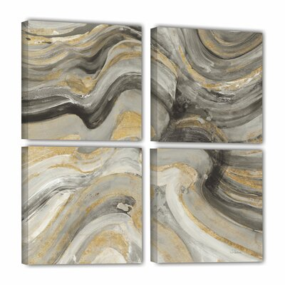 'Flowing Lava Neutral 4 Piece' Painting Print on Wrapped Canvas Set Size: 36