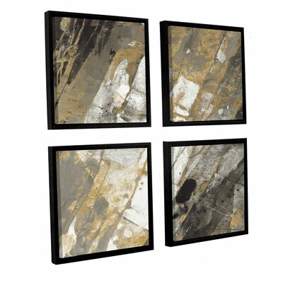 'Hot Lava Neutral 4 Piece' Framed Painting Print Size: 36