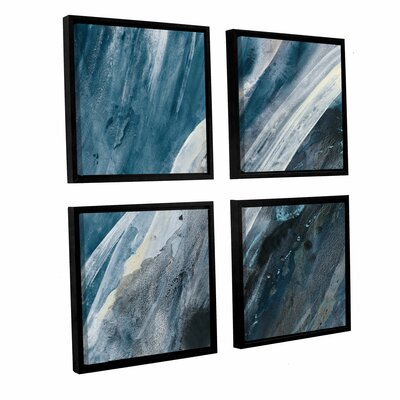 'Splash Indigo' 4 Piece Framed Painting Print Size: 36