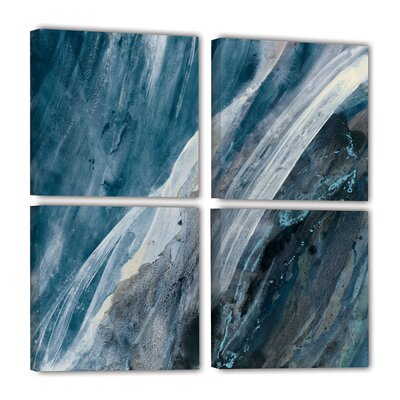 'Splash Indigo' 4 Piece Painting Print on Wrapped Canvas Set Size: 36