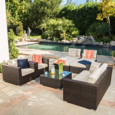 Dickerson Wicker 9 Piece Seating Group Finish: Brown