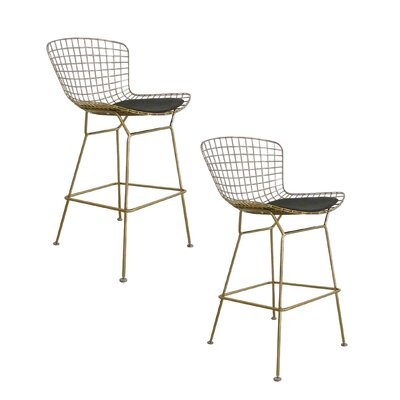 Tubbs 27.5 inch Bar Stool with Cushion (Set of 2) Finish: Gold