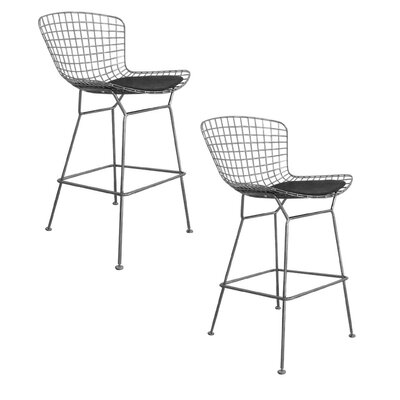 Tubbs 27.5 Bar Stool with Cushion (Set of 2) Finish: Silver