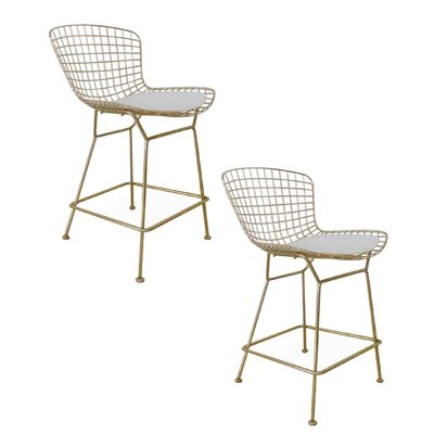 Tubbs 23.5 inch Bar Stool with Cushion Finish: Gold