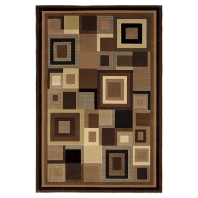 Sherrick Black & Brown Area Rug Rug Size: 33 x 52