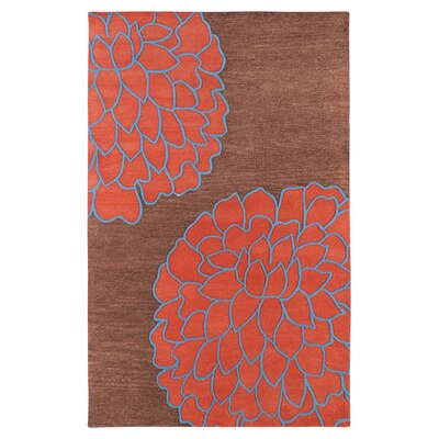 Ozuna Brown/Sky Red Area Rug Rug Size: 8 x 11