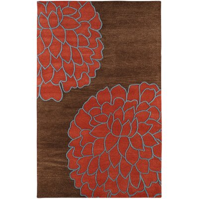 Ozuna Brown/Sky Red Area Rug Rug Size: Rectangle 5 x 8