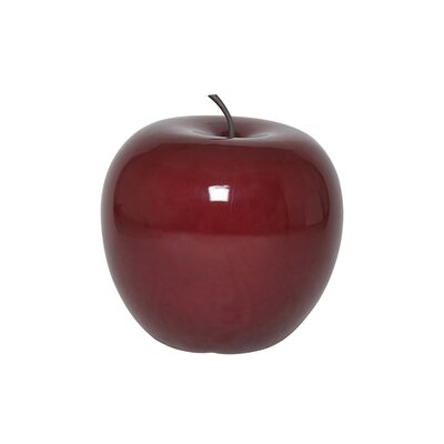 Glossy Fiberstone Apple Sculpture Color: Red