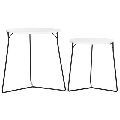 Dejong 2 Piece Nesting Tables Color: White