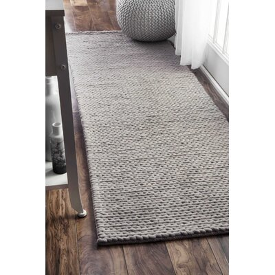 Touchstone Woolen Cable Hand-Woven Light Gray Area Rug Rug Size: 3 x 5