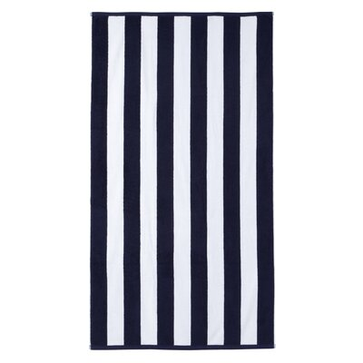 Presswood Cotton Stripe Beach Towel Color: Navy