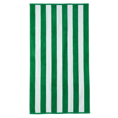 Presswood Cotton Stripe Beach Towel Color: Green