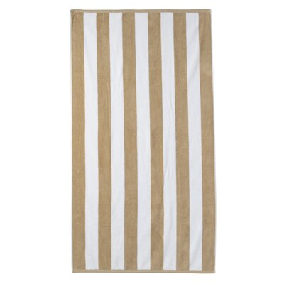 Presswood Cotton Stripe Beach Towel Color: Sand