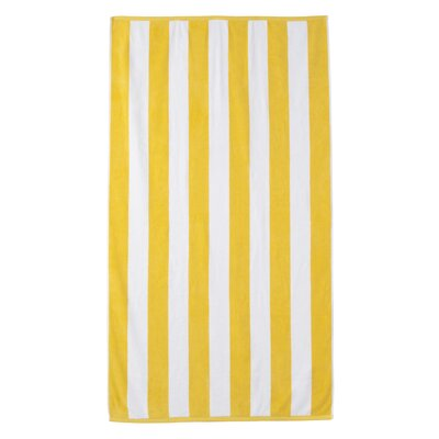 Presswood Cotton Stripe Beach Towel Color: Yellow