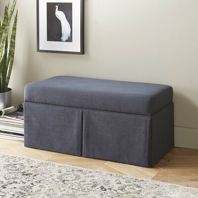Boyer Linen Wood Skirted Storage Bench Color: Navy