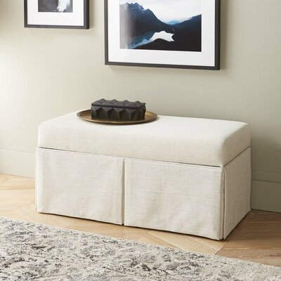 Boyer Linen Wood Skirted Storage Bench Color: Talc