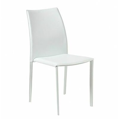 Merle Leather Dining Chair (Set of 4) Color: White