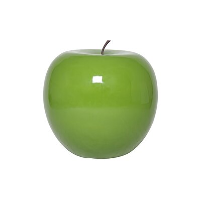 Glossy Fiberstone Apple Sculpture Color: Green