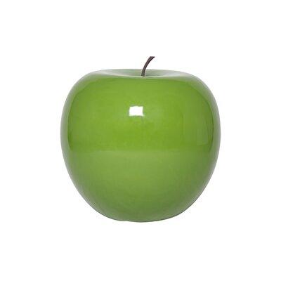 Glossy Fiberstone Apple Sculpture Color: Green