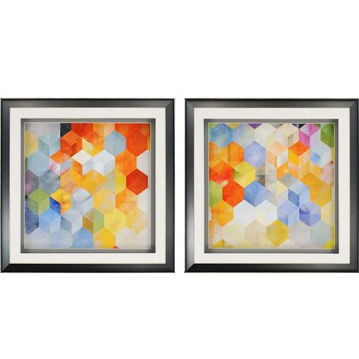 Cubitz 2 Piece Framed Graphic Art Set