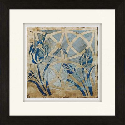 'Stained Glass Indigo III' Framed Graphic Art