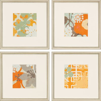 'Ginger Blossom I' 4 Piece Framed Painting Print Set