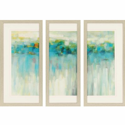 'Lights on the Beach' 3 Piece Framed Painting Print Set