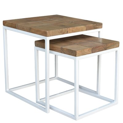 Cowans 2 Piece Nesting Tables Finish: White