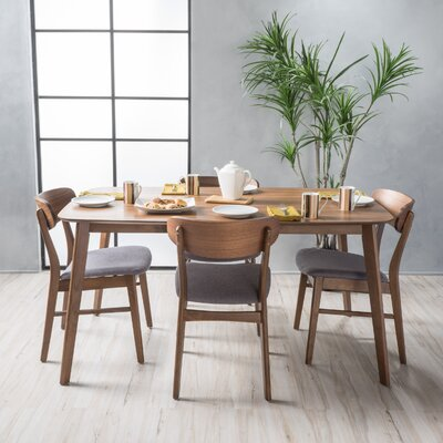 Feldmann 5 Piece Dining Set Table Finish: Natural Walnut, Chair Finish: Light Beige