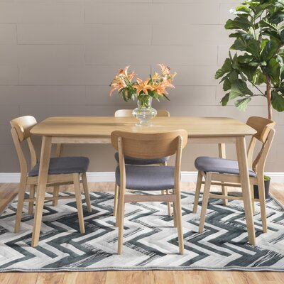 Feldmann 5 Piece Dining Set Table Finish: Natural Oak, Chair Finish: Dark Gray