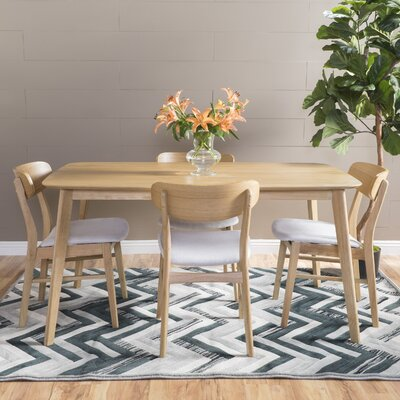 Feldmann 5 Piece Dining Set Table Finish: Natural Oak, Chair Finish: Light Beige