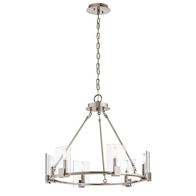Ahlers 6-Light Candle-Style Chandelier Finish: Classic Pewter